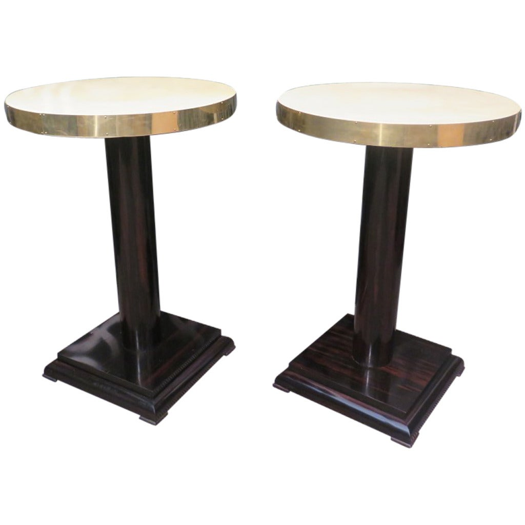 Pair of Parchment Macassar and Brass Art Deco Side Tables