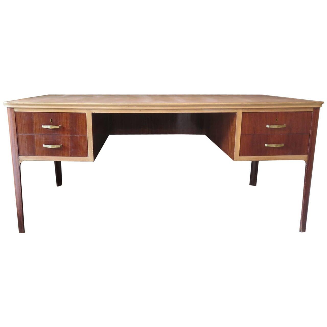 1950s Walnut Leather Midcentury Writing Desk