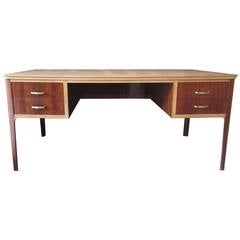 1950s Walnut Leather Midcentury Writing Desk