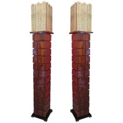 Pair of Murano Square Walnut and Art Glass Midcentury Floor Lamps, 1980