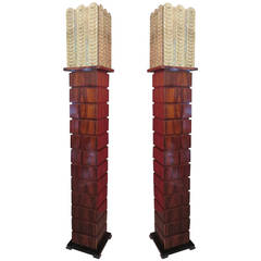 Pair of Murano Square Walnut and Art Glass Midcentury Floor Lamps, 1980