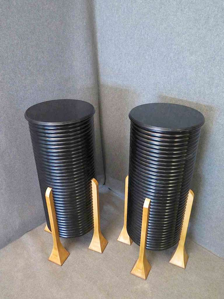 Pair of Black French Art Deco Columns 3