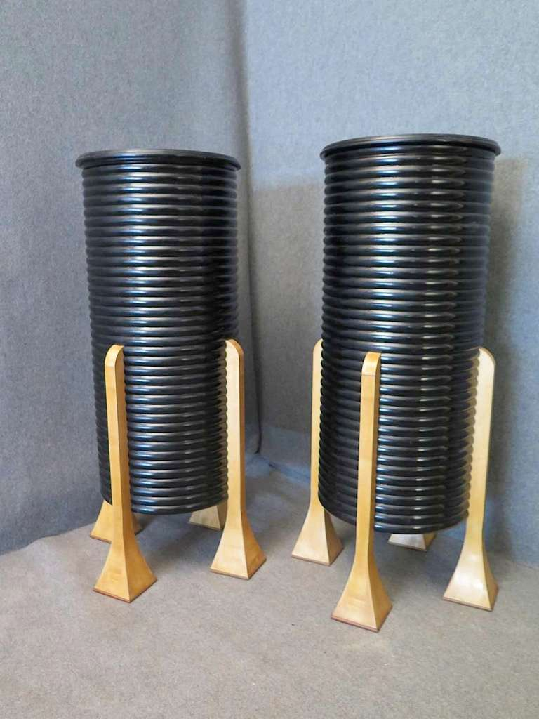 Pair of Black French Art Deco Columns 2