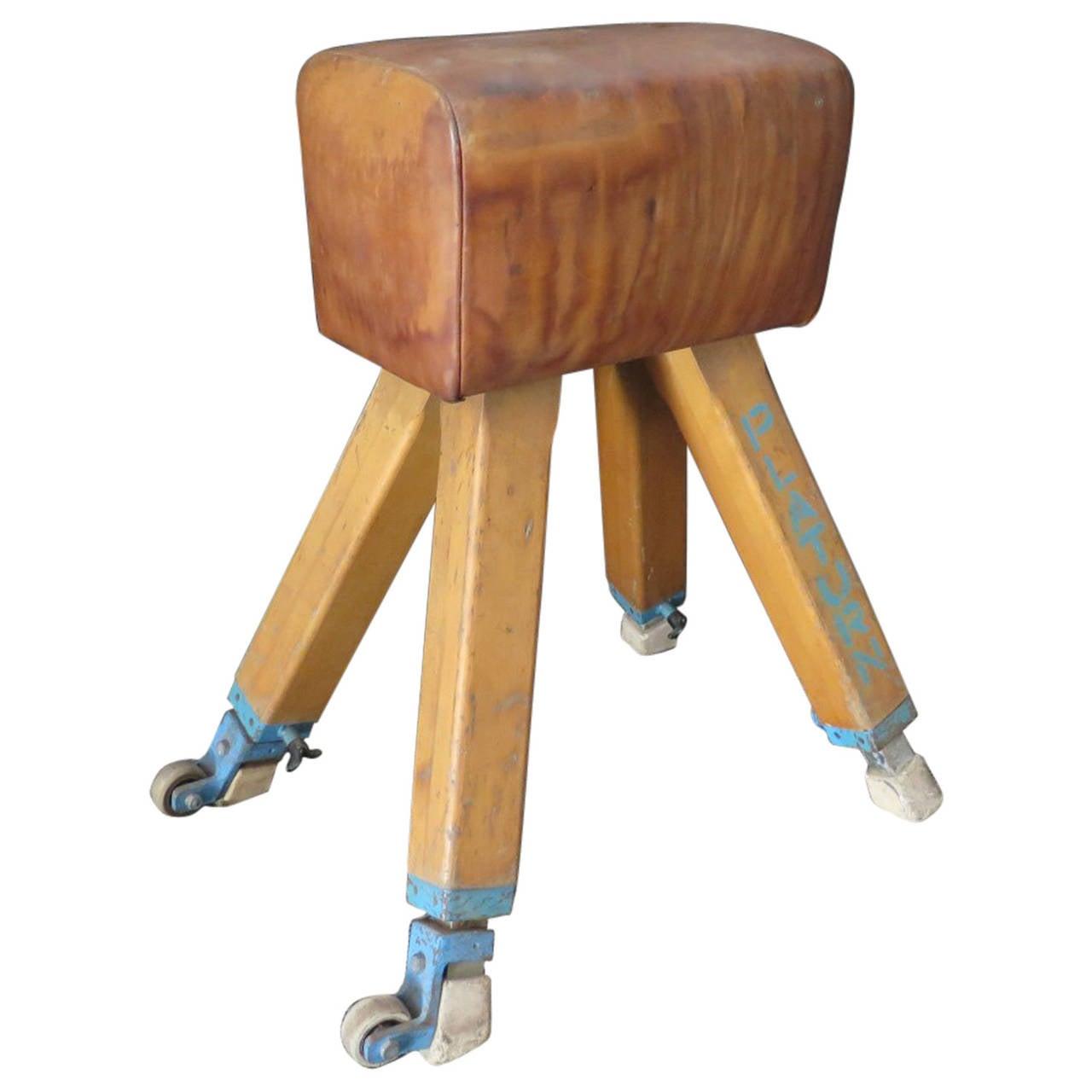 1960s Leather and Wood Italian Gymnastics Horse