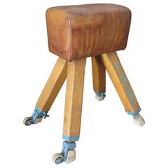 1960s Leather and Wood Italian Gymnastics Horse