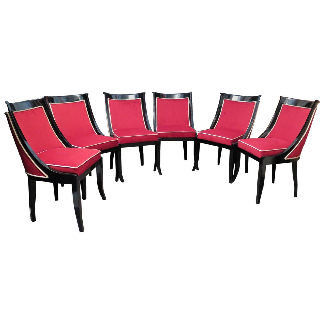 1940s Six Black and Red Velvet French Art Deco Chairs