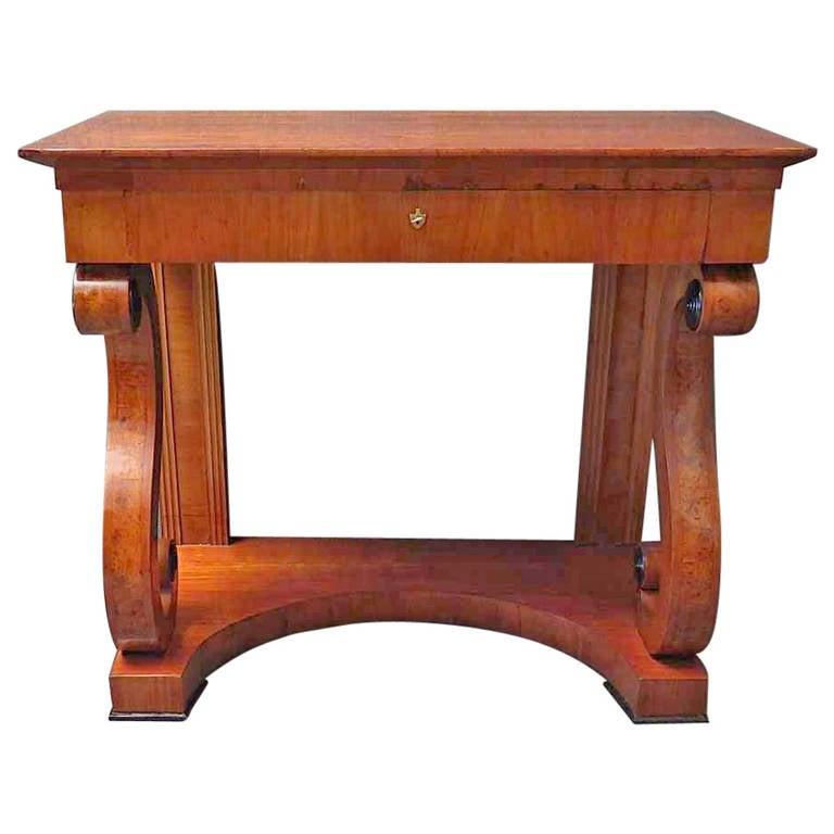Biedermeier Square Cherrywood Console Table, 1820