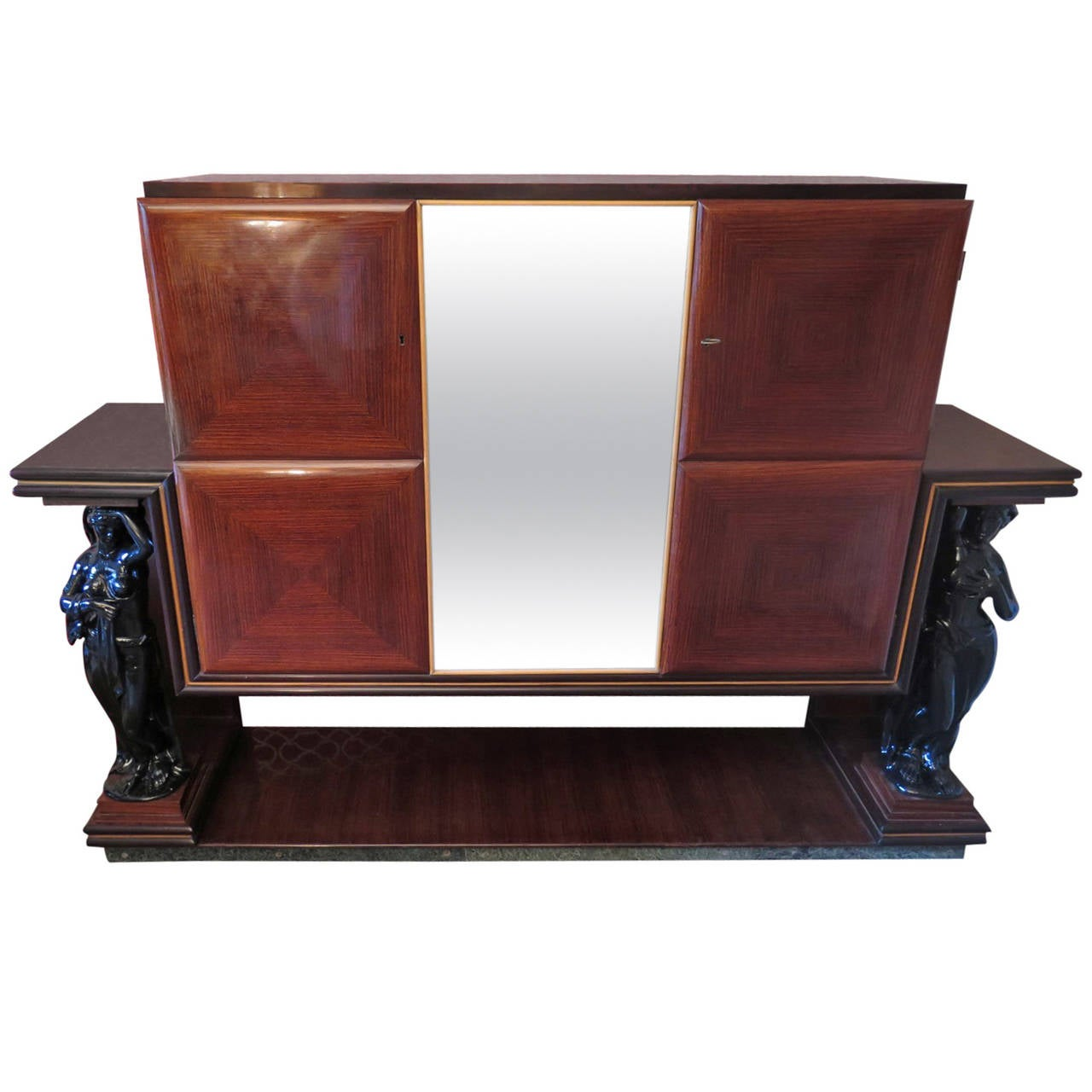1940s Rectangular Italian Art Deco Bar Cabinet