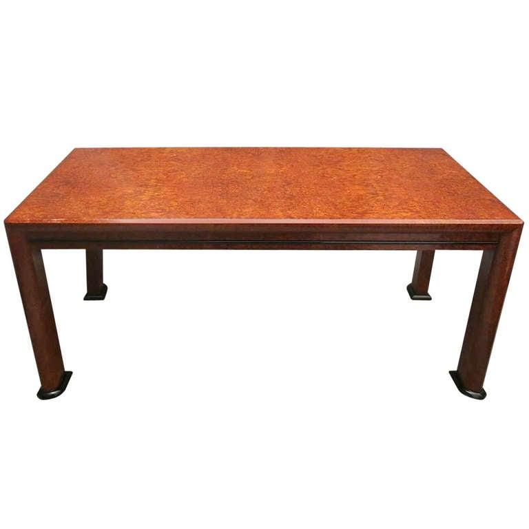 1940s Rectangular Maple Root Italian Art Deco Table