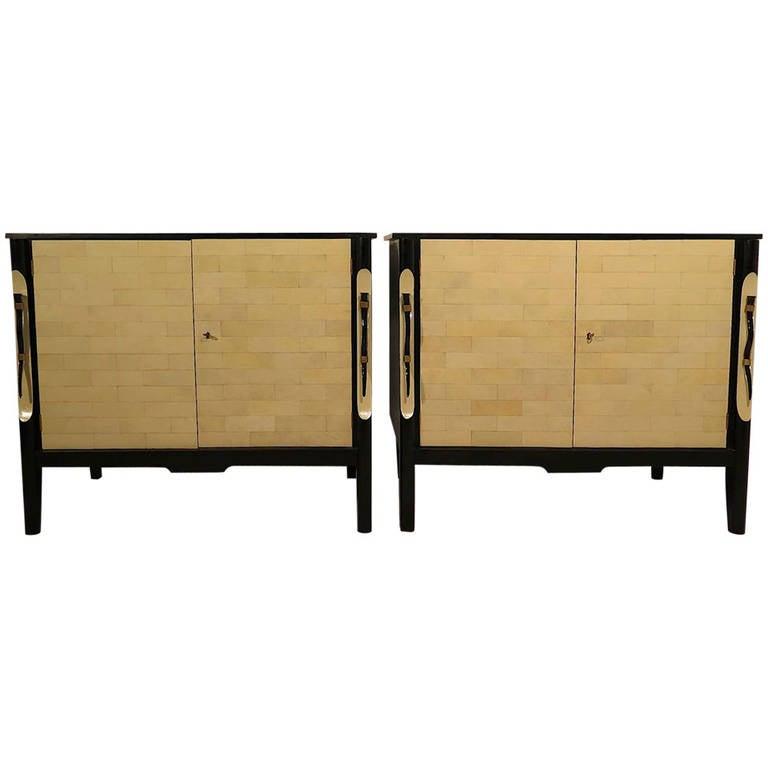 Pair of 1940 Black France Art Deco Sideboards