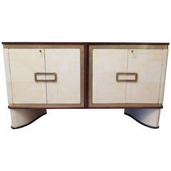 1930 Parchment Glass and Brass French Art Deco Sideboard