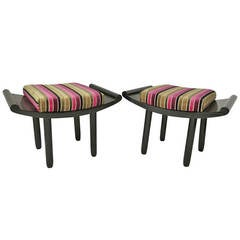 Pair of Black and Velvet French Art Deco Benches, 1930