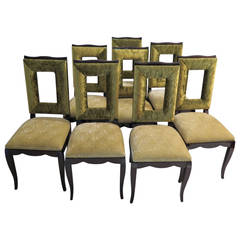 Eight 1930s Mahogany Stained Black and Green Velvet France Dining Chairs