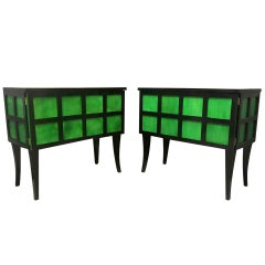 Art Deco Parchment Emerald Green and Black Wood French Sideboard, 1940