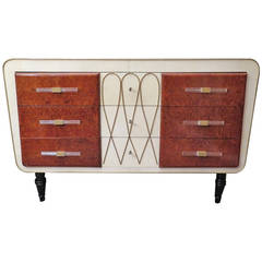 1940 Parchment Maple Brass Art Deco Italian Chest of Drawers