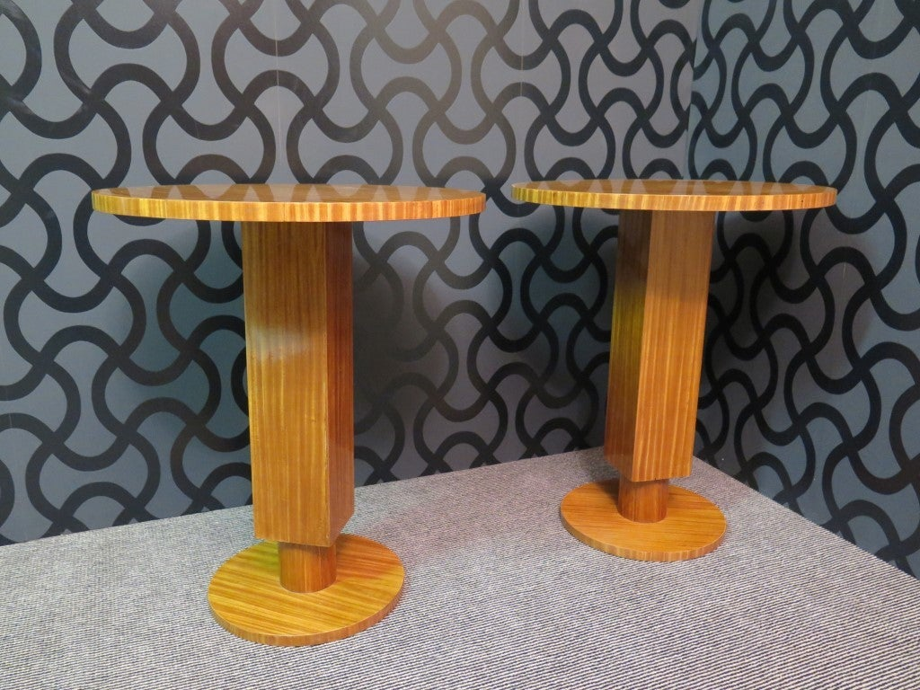 Pair of 1930 Cedar Wood Art Deco Side Tables 2