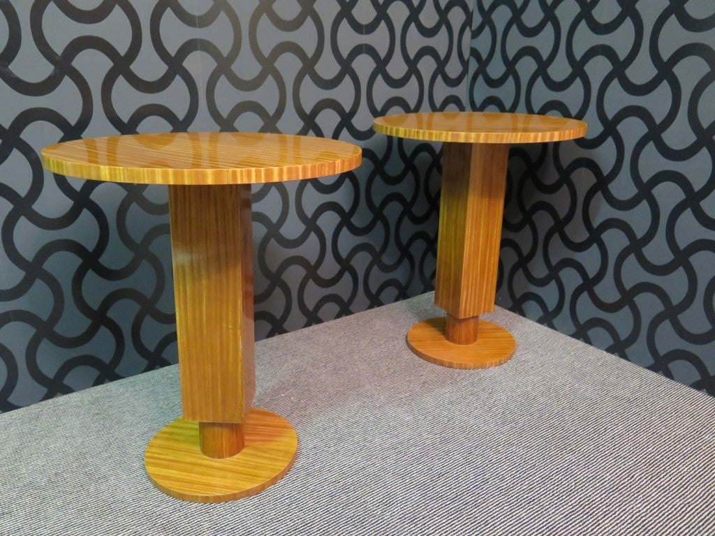 Pair of 1930 Cedar Wood Art Deco Side Tables 6
