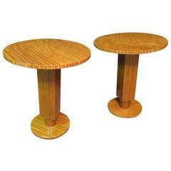 Pair of 1930 Cedar Wood Art Deco Side Tables