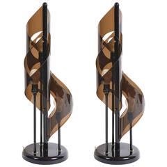 Pair of Sculptural Italian, 1960s Table Lamps