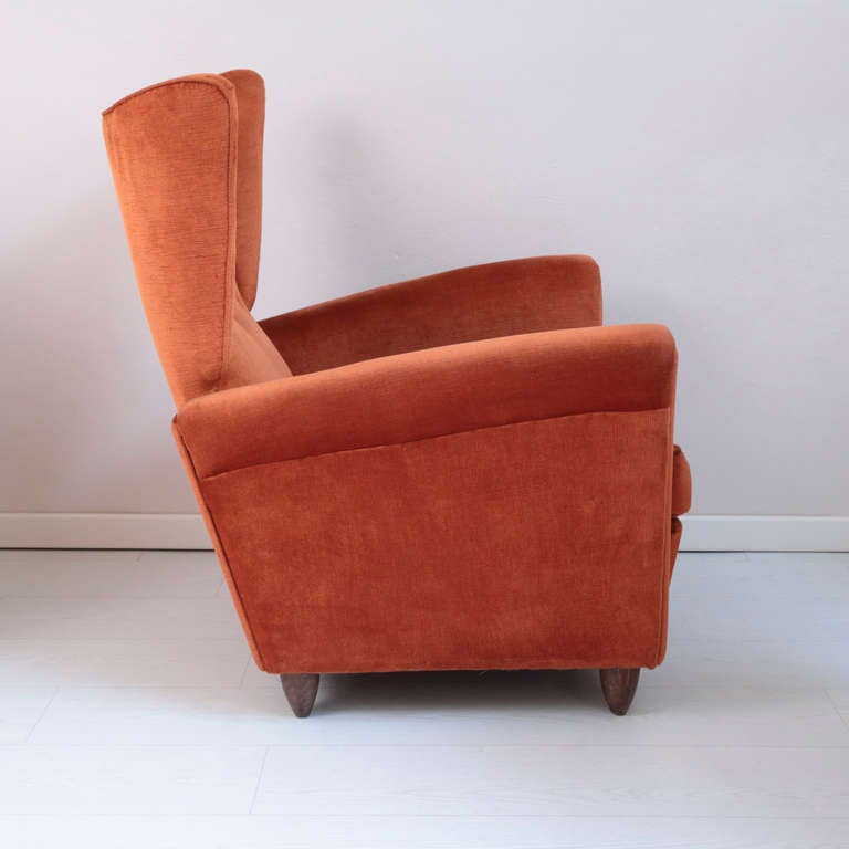 Four interesting shaped armchairs signed camea italian for Interesting armchairs