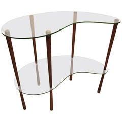 Small Pretty Italian 1950s Tempered Glass Console Table