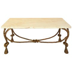 Interesting Italian 1940s Golden Handmade Iron Sofa Table by Colli