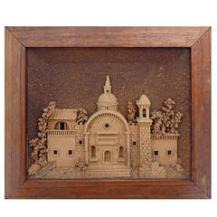 Antique 1861, Miniature Mexican Church Made in Cork, Framed