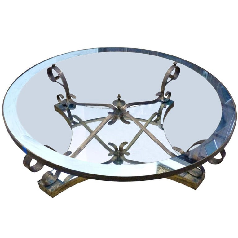 Arturo Pani, Circular Cocktail Table, Brass And Glass At