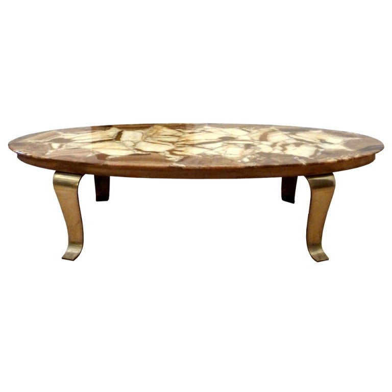Muller 39 S Oval Mexican Onyx And Brass Cocktail Table At 1stdibs