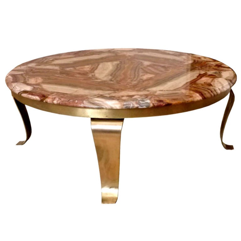 Muller 39 S Circular Mexican Onyx And Brass Cocktail Table At 1stdibs