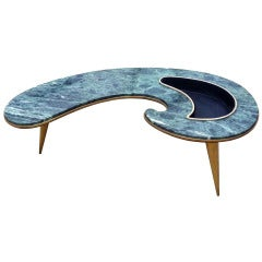 Arturo Pani, Biomorphic Cocktail Table with Flower Pot, Green Marble and Brass