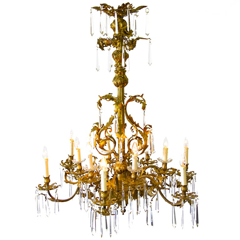 Bronze Bagues Style Chandelier at 1stdibs