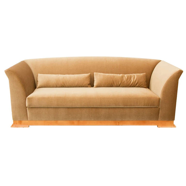 Art Deco Style Hugues Chevalier Sofa In Mohair At 1stdibs