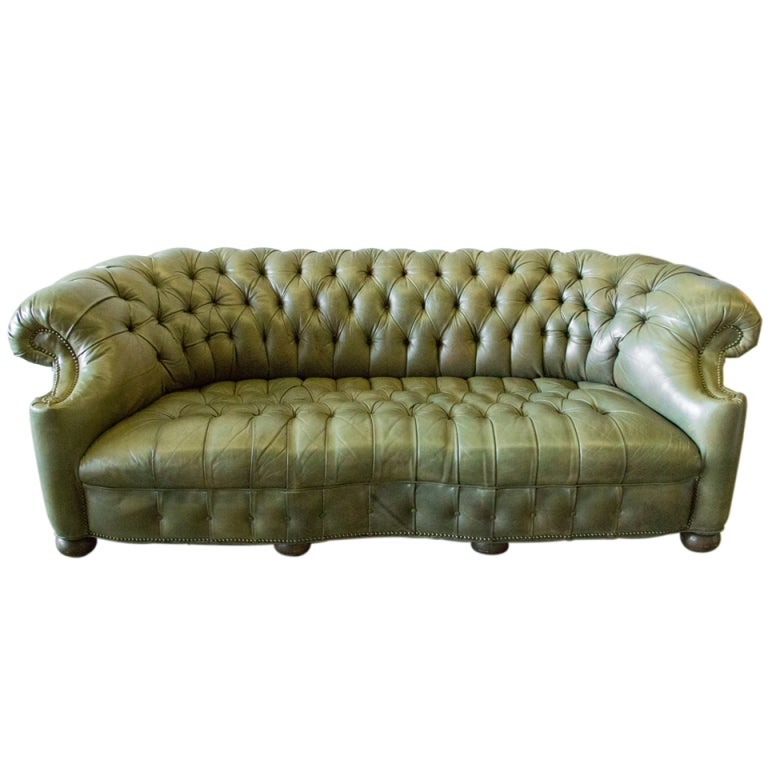 Olive Green Tufted Leather Chesterfield At 1stdibs