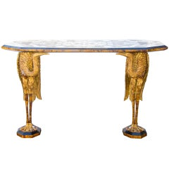 An Italian Baroque Style Inlaid Console Table
