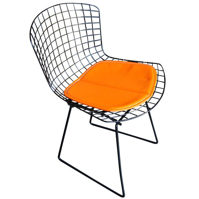 Vintage Harry Bertoia For Knoll Black Side Chair