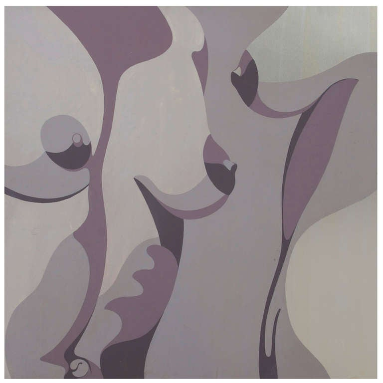 """Framed Painting on Stainless Steel Nude Torso """"Two Women"""" by R. Harold, 1966"""