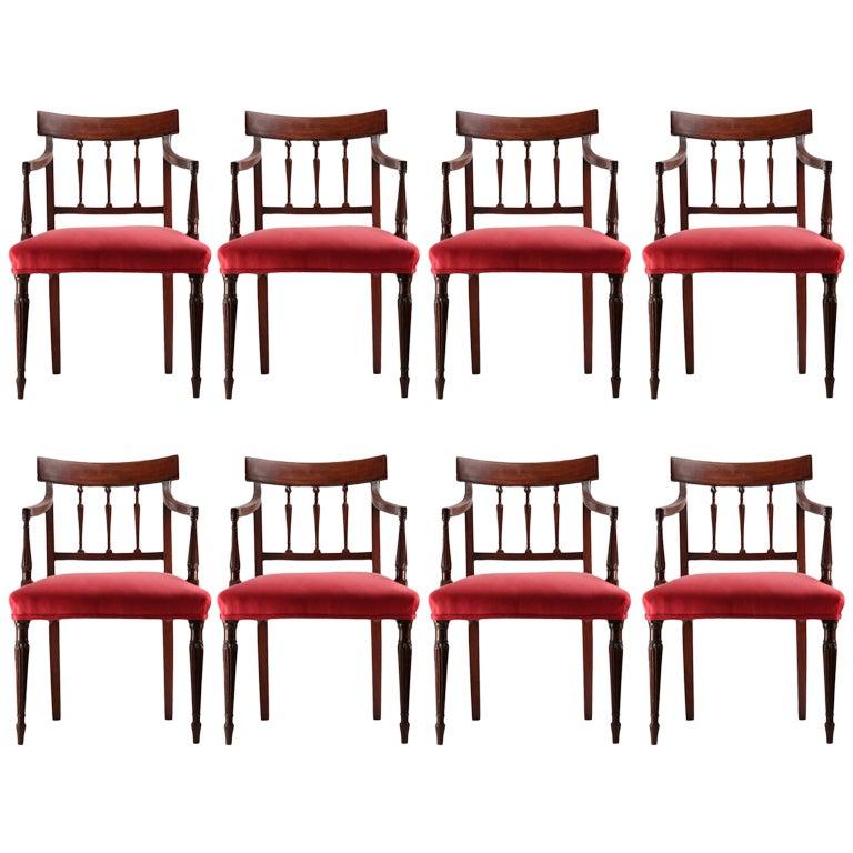 Set Of 8 Late 19th C Sheraton Style Mahogany Chairs At