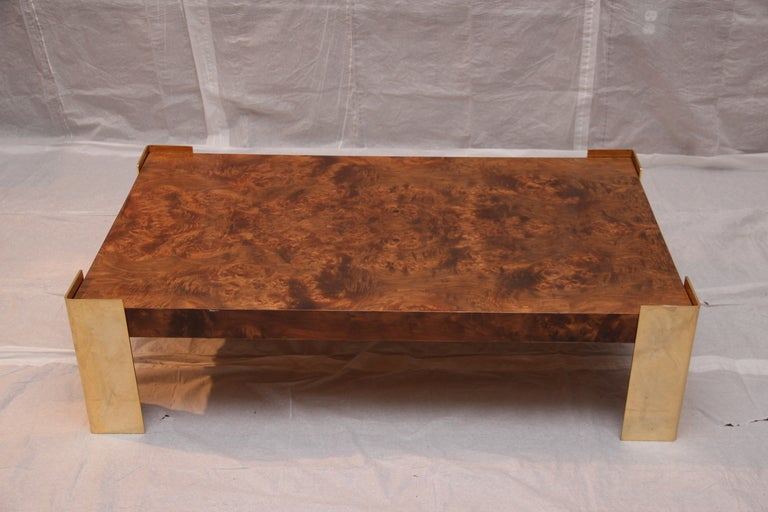 burled olive wood and brass coffee table at 1stdibs With olive wood coffee table
