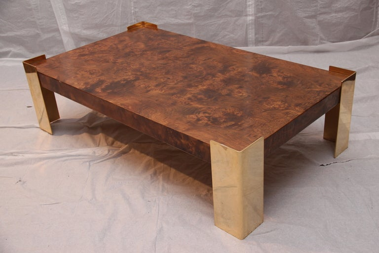 Burled Olive Wood And Brass Coffee Table 3