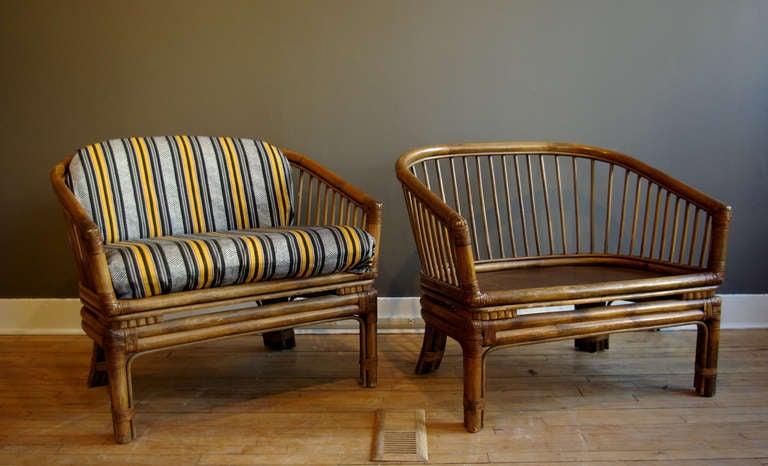 Pair Of Vintage Brown Jordan Rattan Lounge Chairs 2