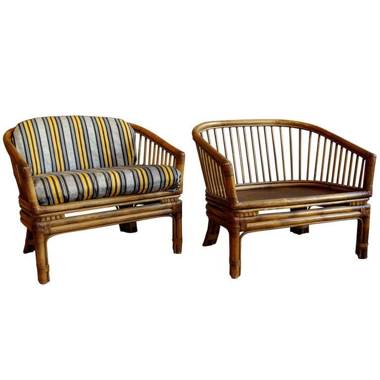 Pair of Vintage Brown Jordan Rattan Lounge Chairs at 1stdibs