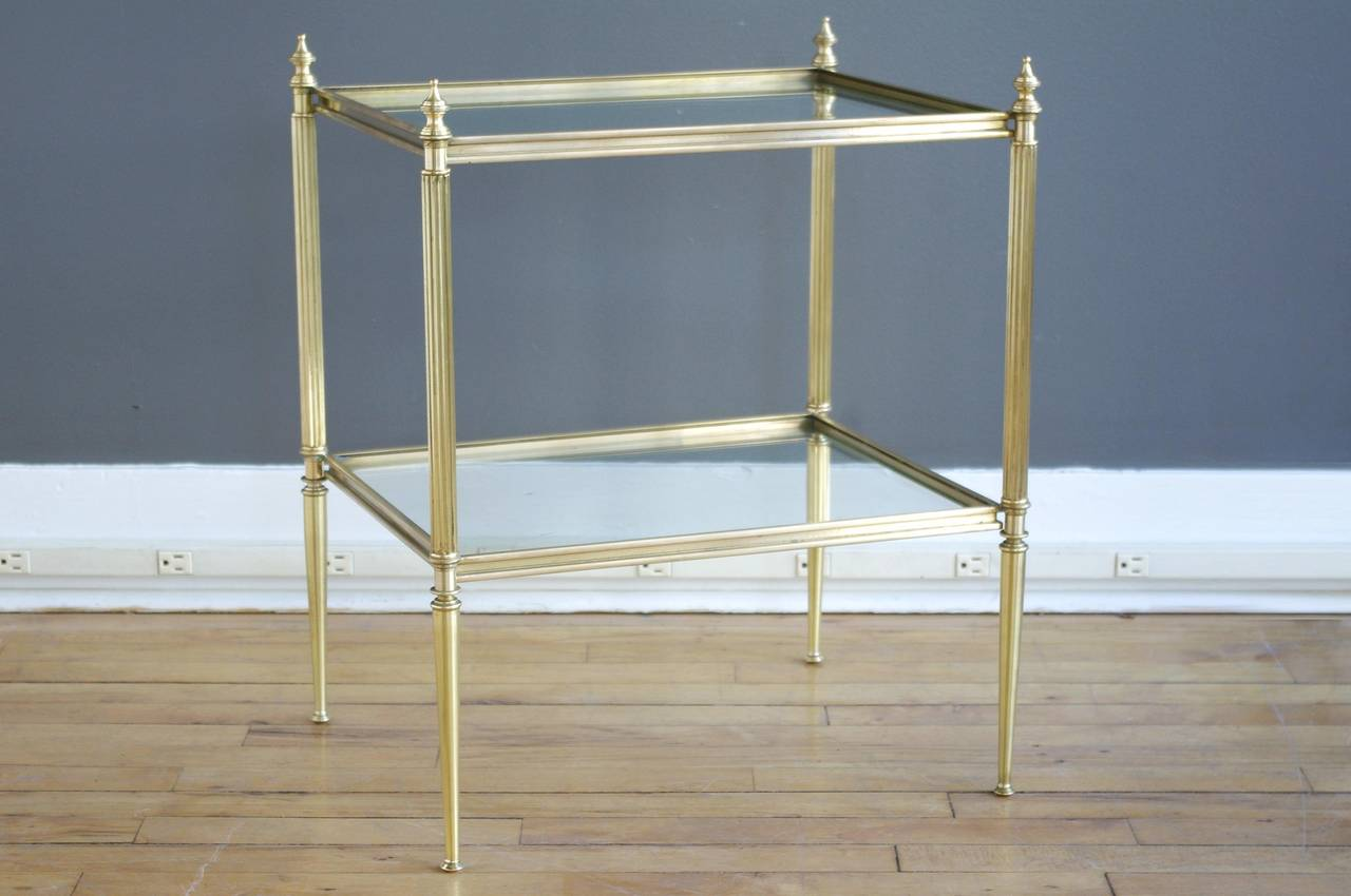 High Quality Pair Of French Brass U0026 Glass Hollywood Regency Side Tables 3