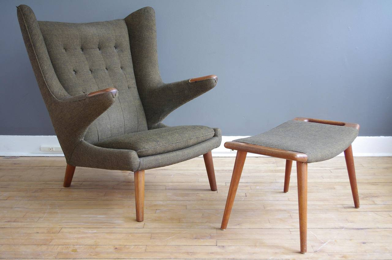 Hans Wegner Papa Bear Chair and Ottoman at 1stdibs