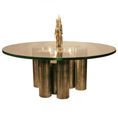 Brutalist Coffee Table with Coordinating Pendant Light Fixture