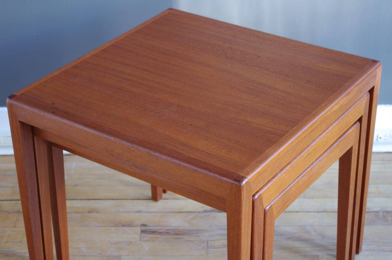 Teak Nesting Tables ~ Set of three danish teak nesting tables at stdibs