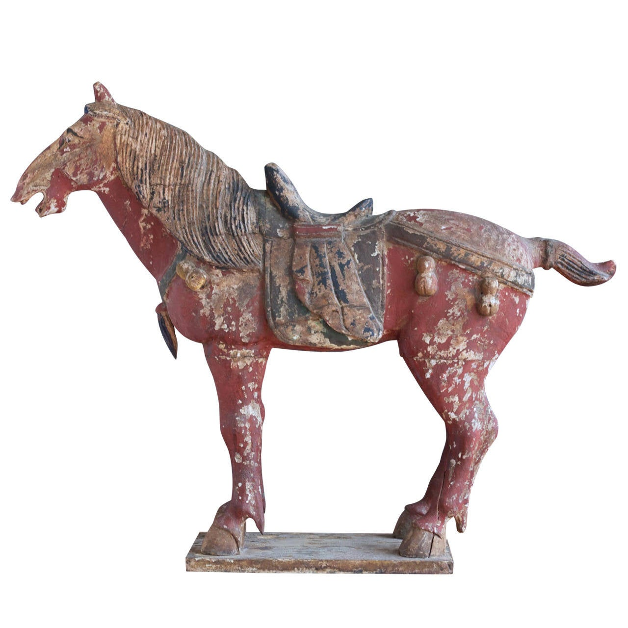 Old Garden Statue: Antique Polychromed Tang Style Horse Statue At 1stdibs