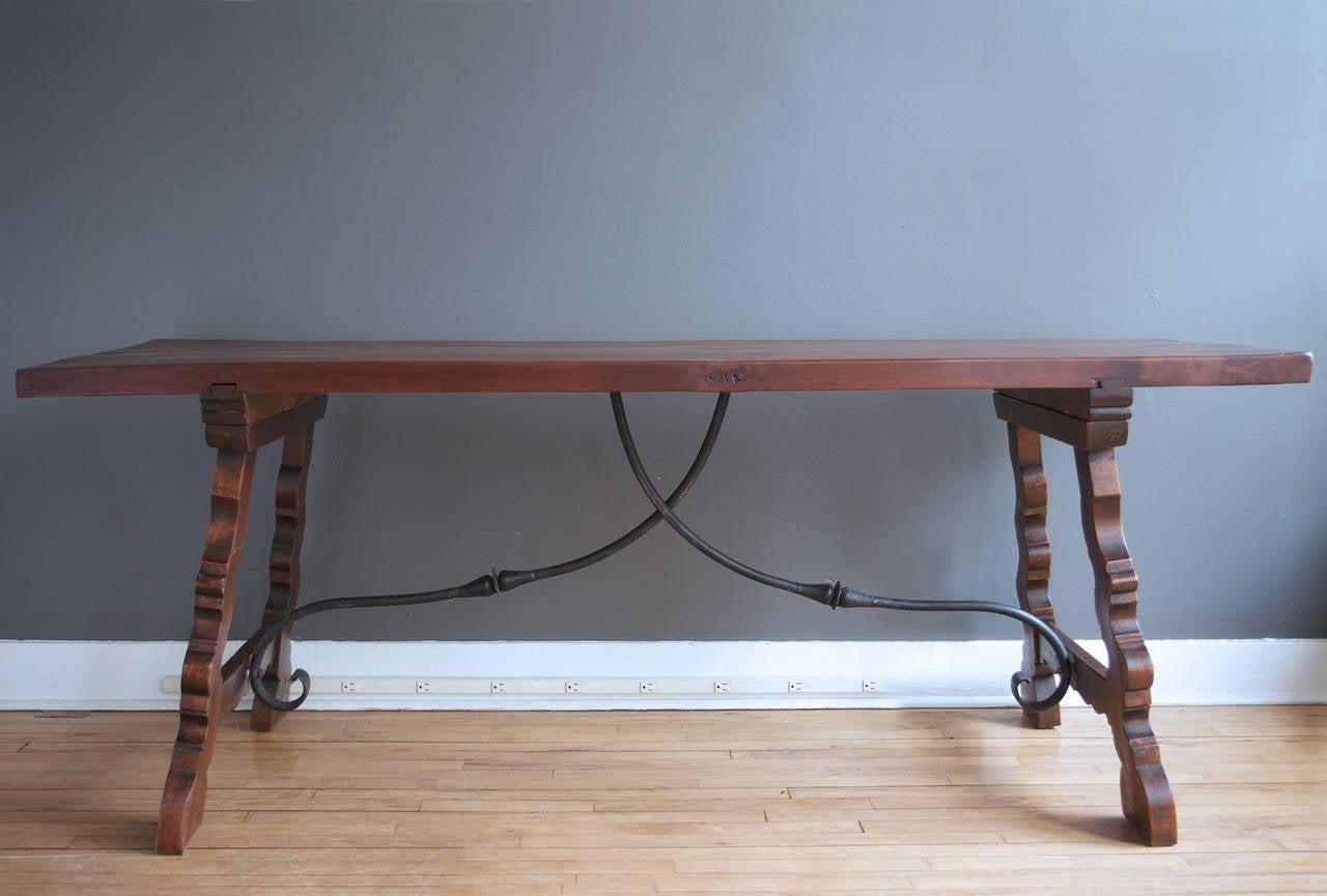 Spanish Revival Walnut Trestle Table 2