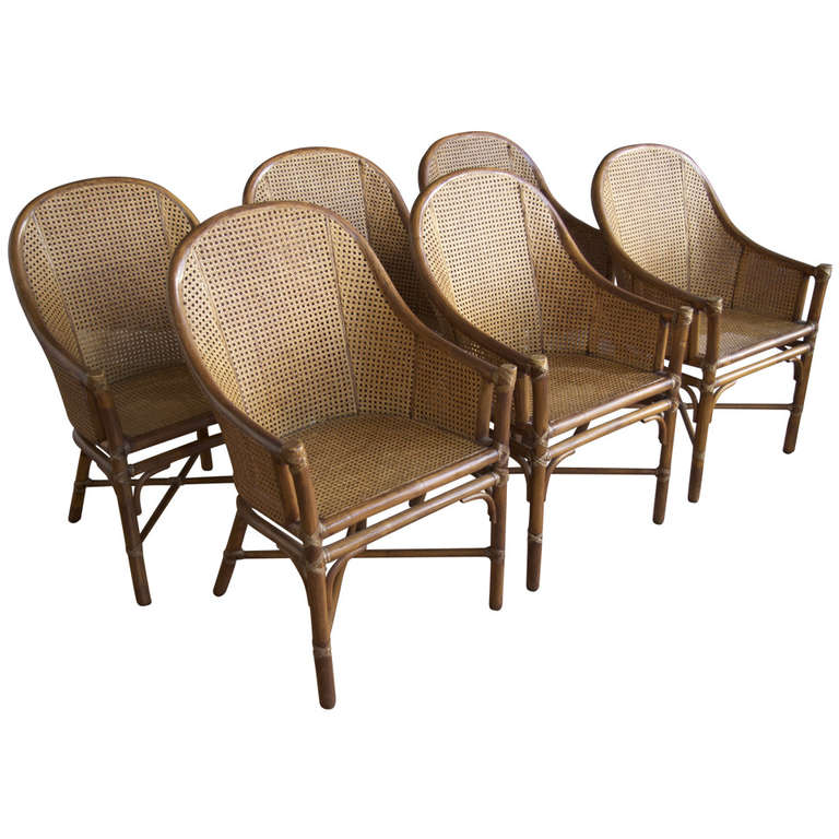 Set Of Six Rattan U0026 Cane Dining Chairs By McGuire For Sale