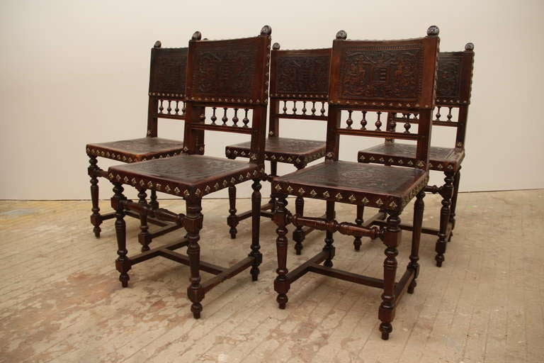 baroque spanish revival leather dining chairs at 1stdibs